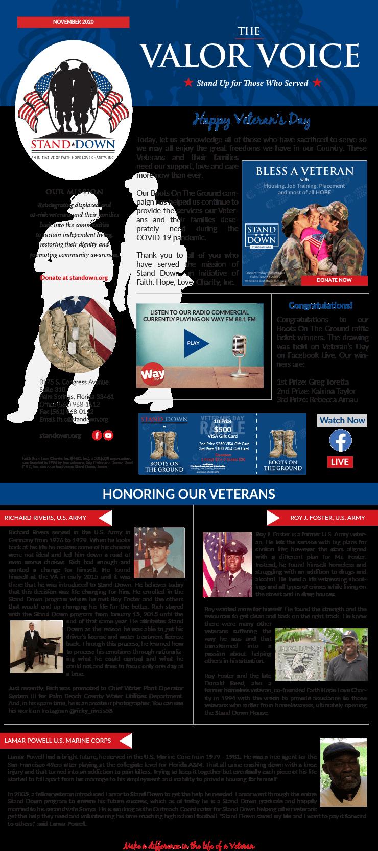Valor Voice Newsletter Veterans Day 2020
